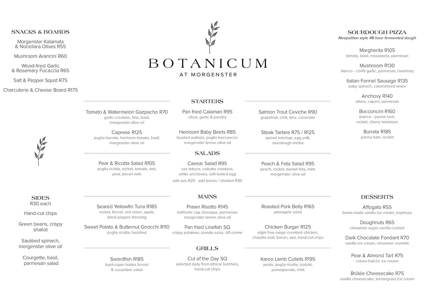 Botanicum Morgenster - Main Menu 10-12-2020